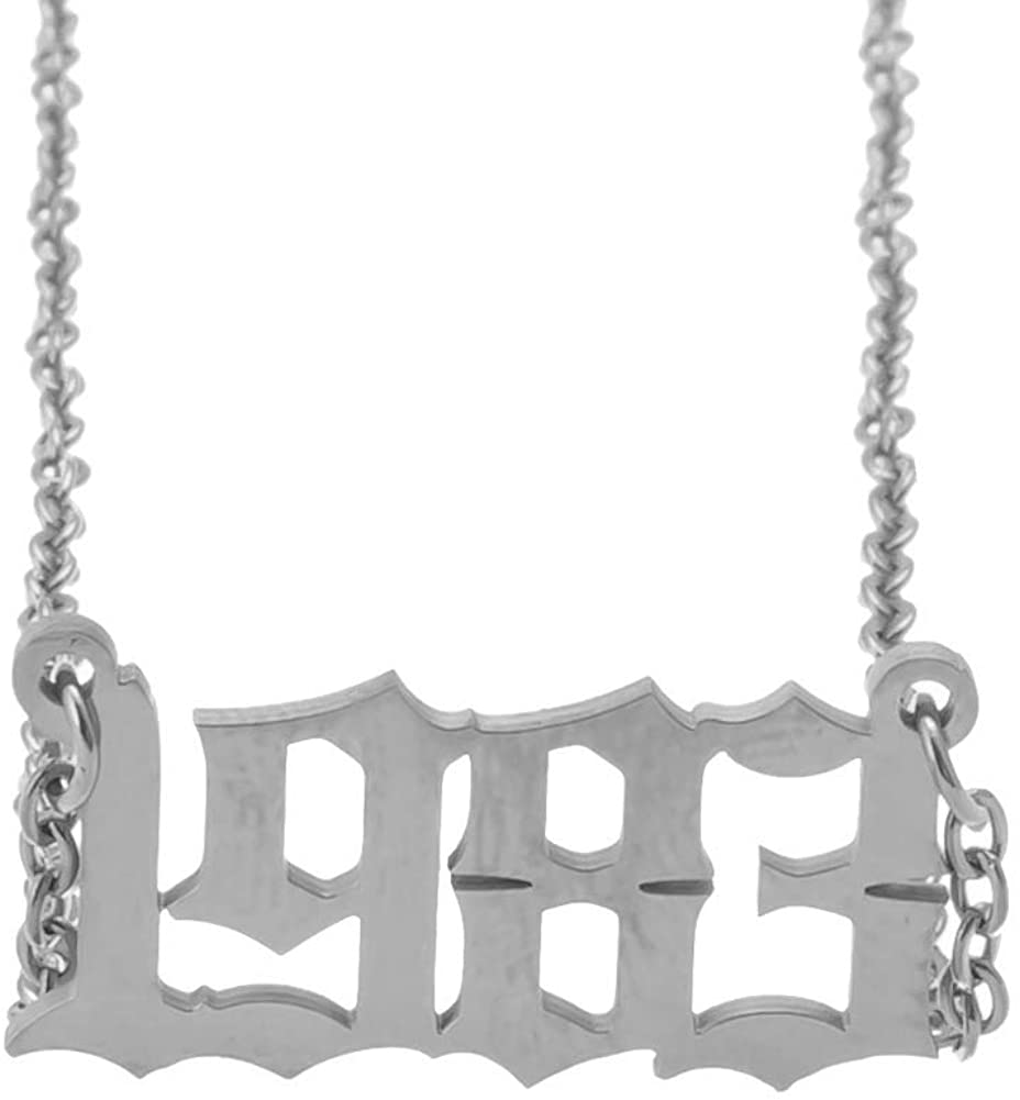 Stainless Steel 18K Gold Plated Old English Birth Year Number 18inch 3 Tone Custom Birthday Gift Necklace