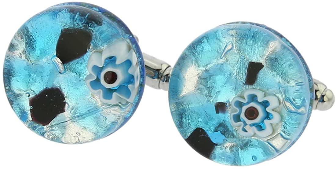 GlassOfVenice Murano Glass Venetian Classic Round Cufflinks - Aqua Purple