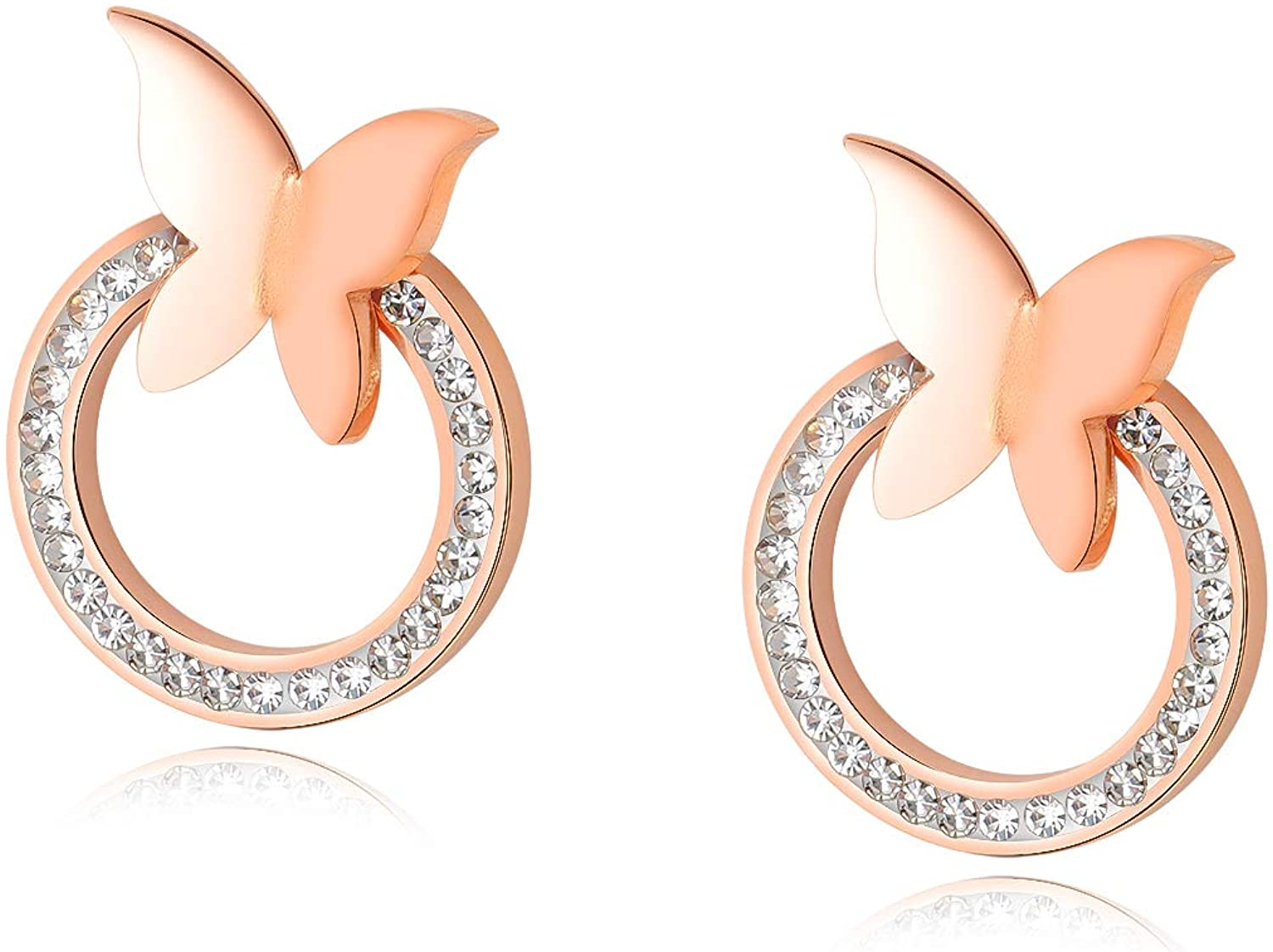 FANCIME Round Circle Stud Earrings With Butterfly Rose Gold Plated Stainless Steel Cubic Zirconia CZ Hypoallergenic Fashion Chrismas Jewelry Gift for Women Girls Mom,18.5mm