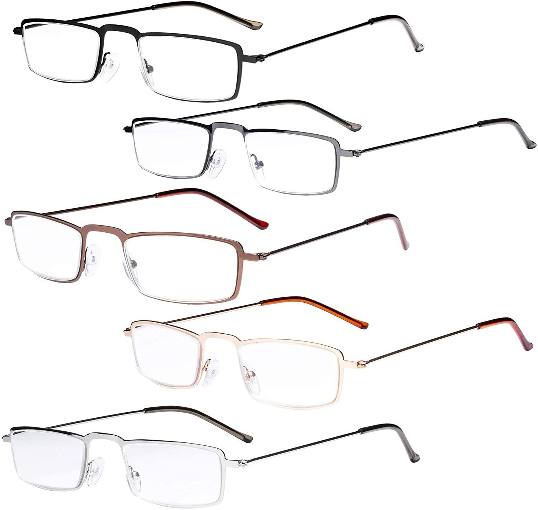 Eyekepper 5-Pack Stainless Steel Frame Half-Eye Style Reading Glasses Readers +0.75