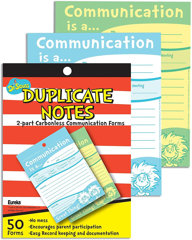 Eureka Dr. Seuss Teacher Notes for Parents Carbonless Duplicating Notepads, 50 ct.
