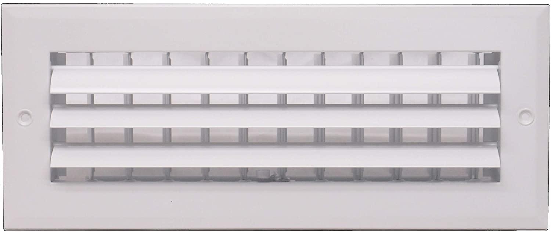 12 x 4 - 1-Way Air Vent - Adjustable Aluminum Curved Blades - Maximum Air Flow - HVAC Grille