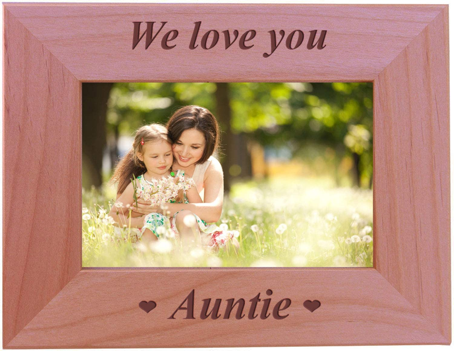CustomGiftsNow We Love You Auntie - Engraved Wood Picture Frame (4x6 Horizontal)