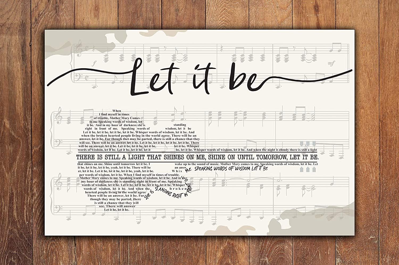 yokoisaya99store The Beatles, Let it be Lyrics, Horizontal Paper Poster No Frame, Song Lyrics Poster, Music Poster, Wall Decor, Wall Art,let it be Art,Poster