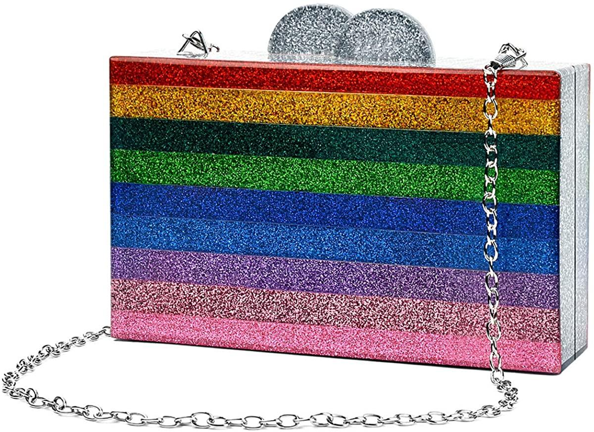 Rainbow Evening Handbag Acrylic Wedding Party Clutch Purse Crossbody Wallet Bag for Women