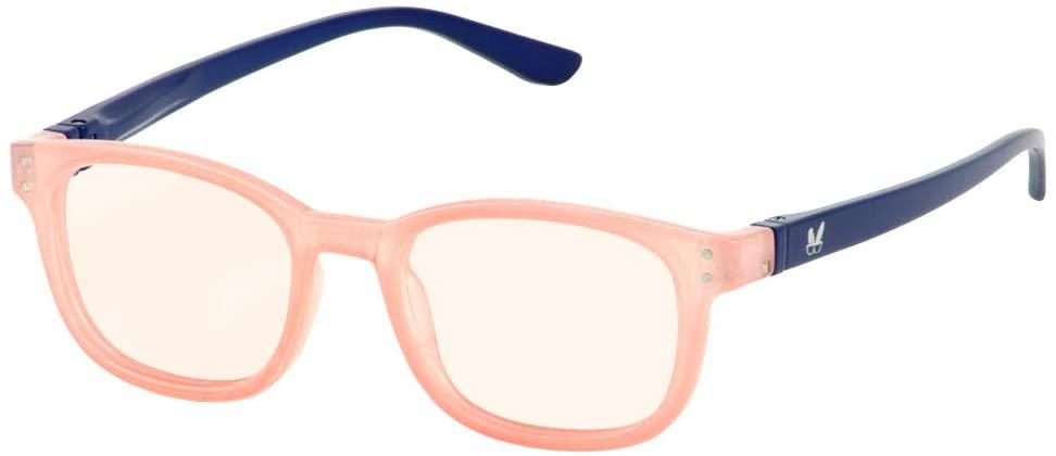 Bunny Eyez Kaley Wearable, Tilt-able, Flip-able Women's Blue Lens Reading Glasses (Rose/Navy, 1.00)