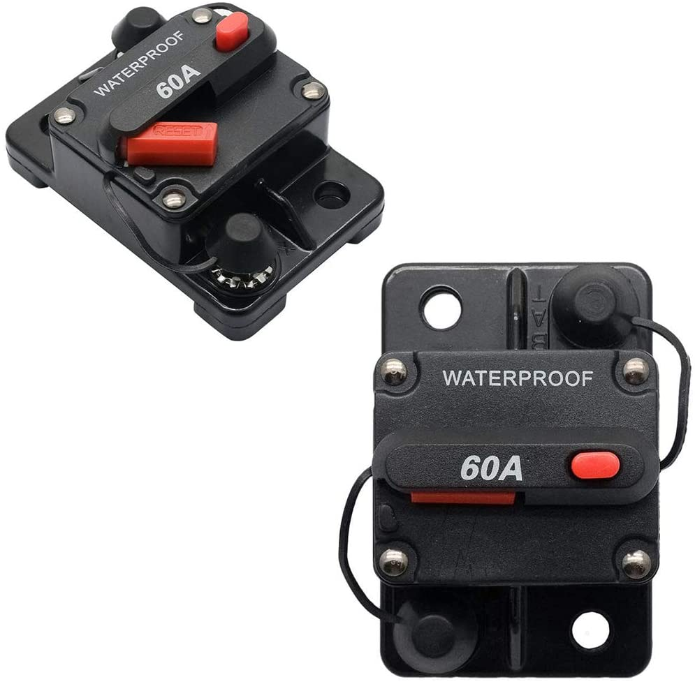 Waterproof Car Circuit Breaker Trolling - Bentrance 60 Amp with Manual Reset Suitable for Motor Auto Car Marine Boat Bike Stereo Audio, 12V-24V DC(60A)