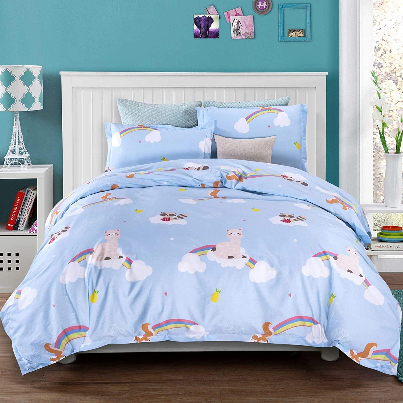 Orient P&E Bedding Cute Alpaca Squirrel Raccoon Funny Kids Duvet Cover Set, Light Blue Animal Cartoon, 100% Cotton, Full/Queen, Teens Boys Girls with Zipper Closure, Corner Ties, 3 Pieces