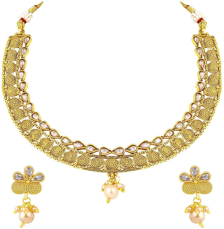 Aheli Elegant Indian Wedding Party Wear Faux Kundan Necklace Earring Set Ethnic Bollywood Fashion Statement Jewelry for Women
