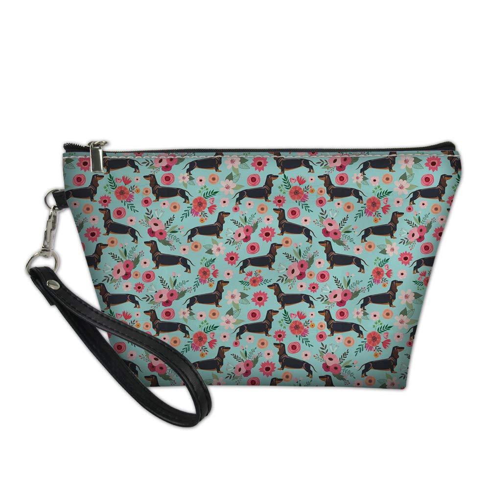 Alemiu Cosmetics Makeup Brushes Toiletry Jewelry Digital Accessories Makeup Bag for Women Ladies Travel Convenient Outdoor Handbag Floral Dachshund Design