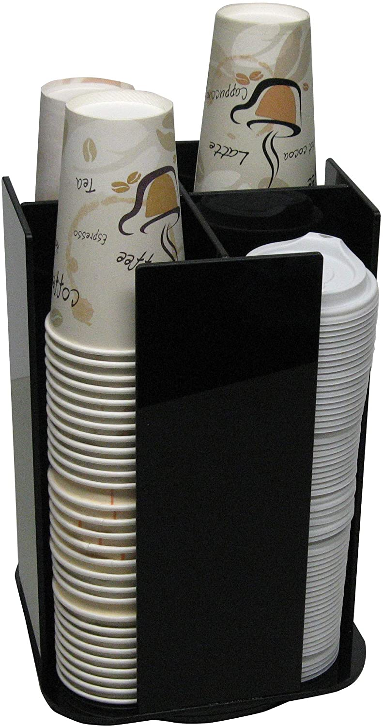 Coffee Cup Dispenser Lid Holder Beverage Station Organizer Spinning Caddy Organize your counter with style (1005LA)
