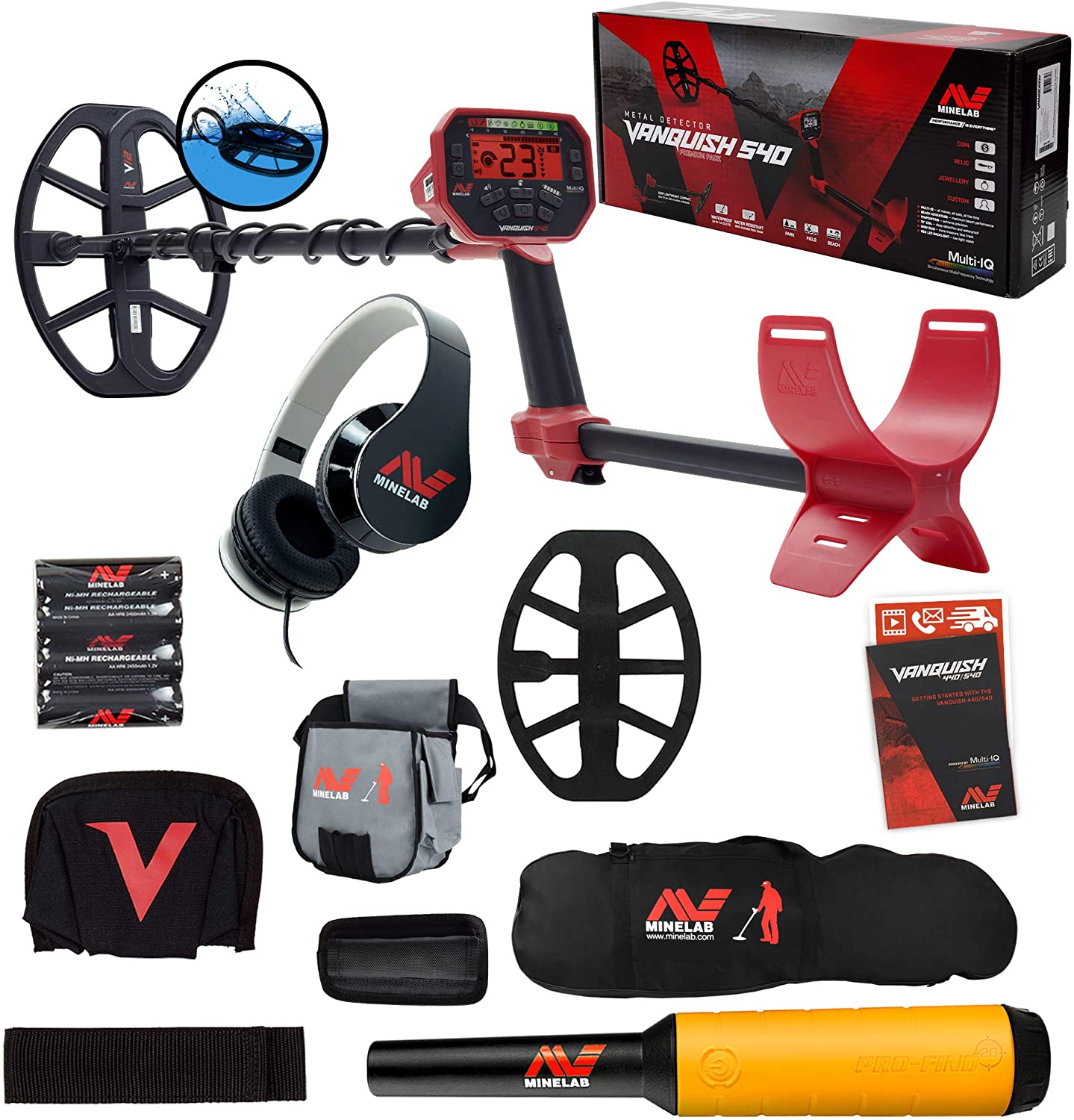 Minelab Vanquish 540 Detector w/Pro-Find 20 Pinpointer, Carry Bag, Finds Pouch