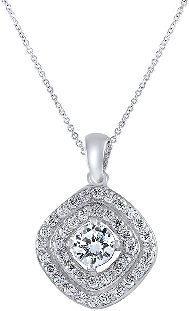 AFFY Round Cut White Cubic Zirconia Halo Pendant in 925 Sterling Silver