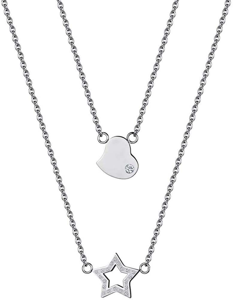 Pretty Star and Heart Necklace of Best Gift for Women and Girls