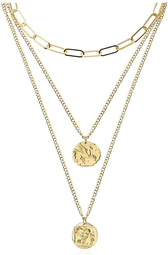 FAMARINE Gold Layered Pendant Long Necklace, 3 Layer Choker Necklace Chain Pendant Costume Jewelry for Women