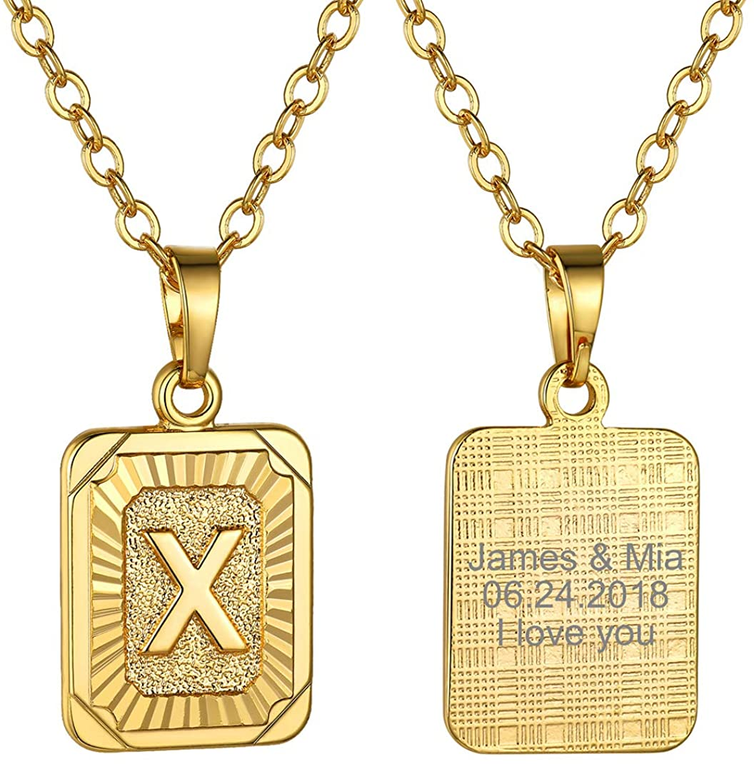 GoldChic Jewelry Tiny/Medium Square Initial Necklace for Women Men Girls, Dainty Letter Charm Necklaces (adjusts to 16-24 inch), Birthday with Gift Box - Customized Available