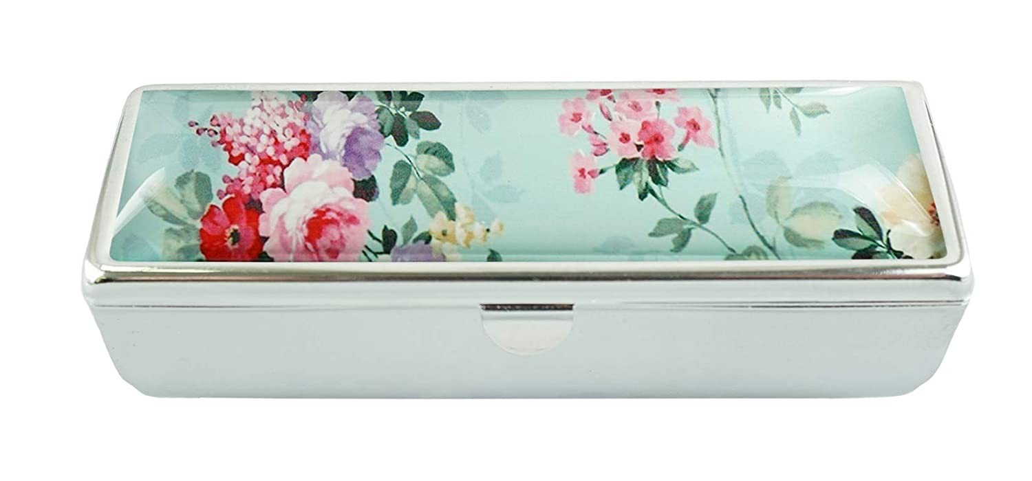 LCTCKP Y Custom Fashion Glass Lipstick Case With Mirror Lipstick Frame Cosmetic Case Jewelry Box (Vintage Floral -B)
