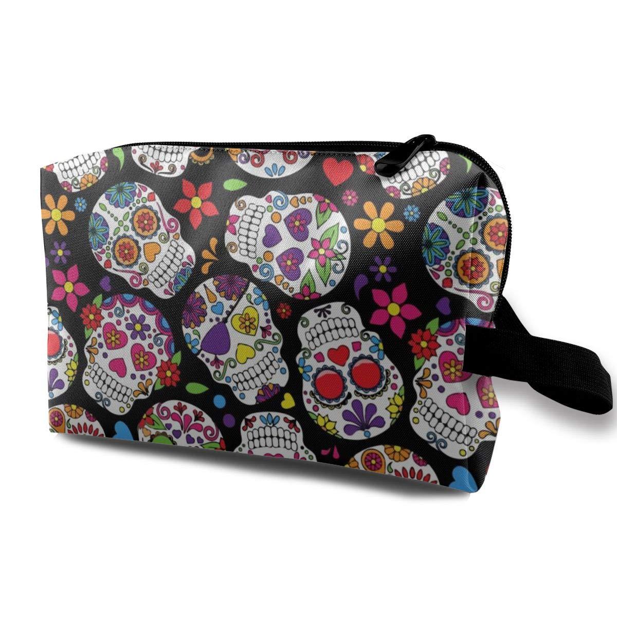Students Super Large Capacity Canvas Pencil Case Pen Bag Pouch Stationary Case Makeup Cosmetic Bag (Dead Sugar Skull)