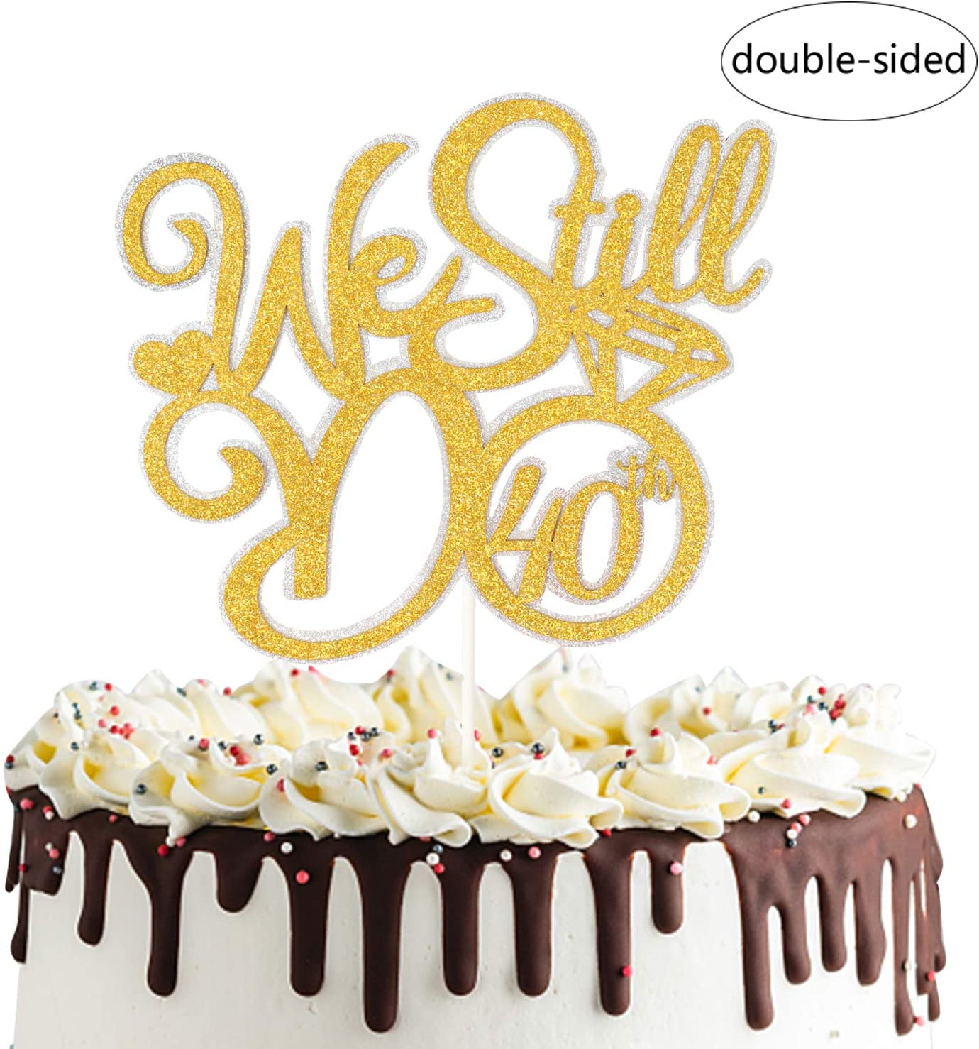We Still Do 40th Cake Topper,Vow Renewal Cheers To 40 Years Cake Decor,40th Wedding Anniversary Party Decorations