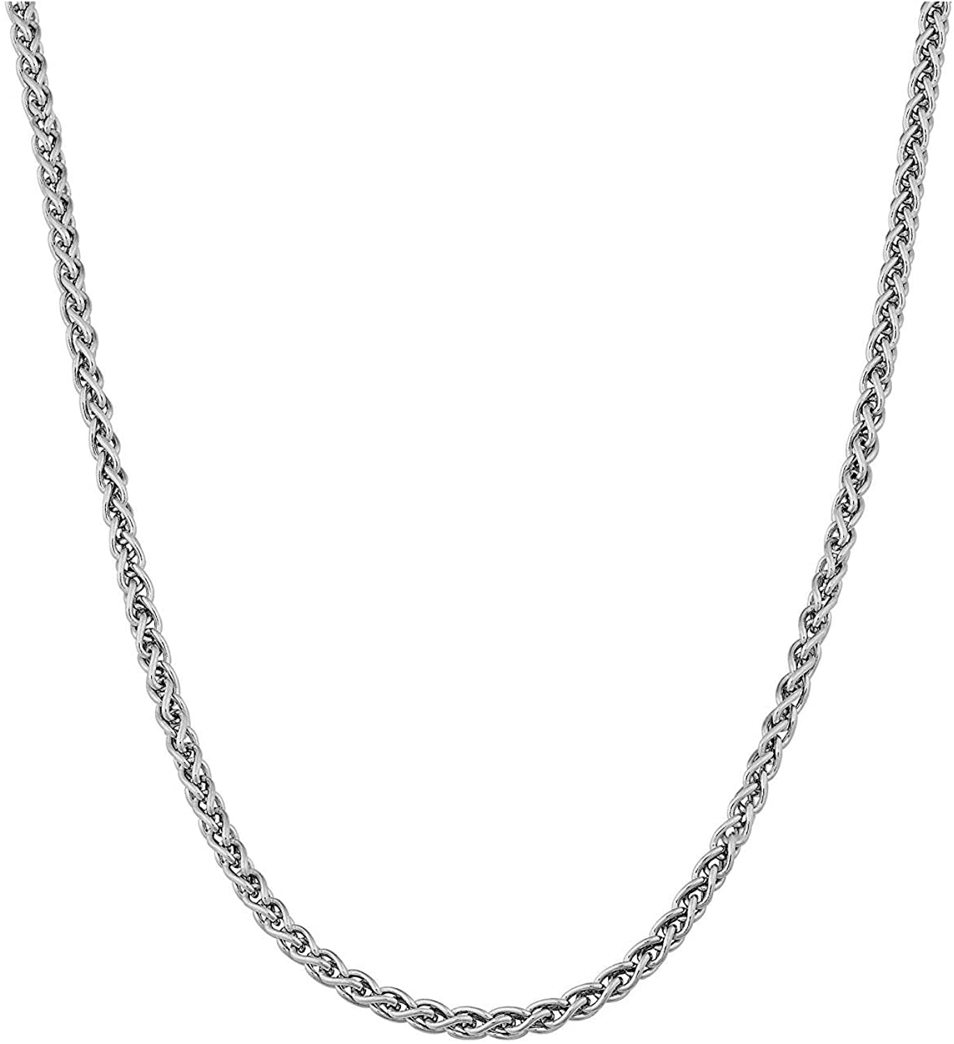 AmyRT Stainless Steel Chain Necklace Silver for Men Women 16