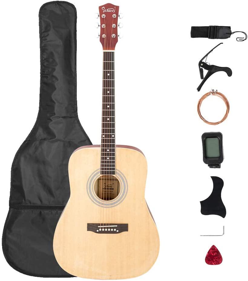 Festnight 41 Inch Acoustic Guitar with Guitar Bag Shield Wrench Tuner Capo Shoulder Strap String Paddles Wooden Folk Guitar for Beginner/Professional Kids/Boys/Girls/Junior/Adult/Children/Youth