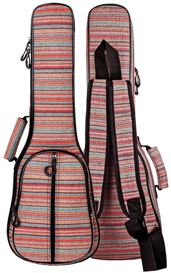 Glenmi Multicolor Bohemian Ukulele Case Bag for Soprano Concert Tenor Ukulele 21'' 23'' 26'',0.5 Inch Thick Padded(Concert-23 Inch)