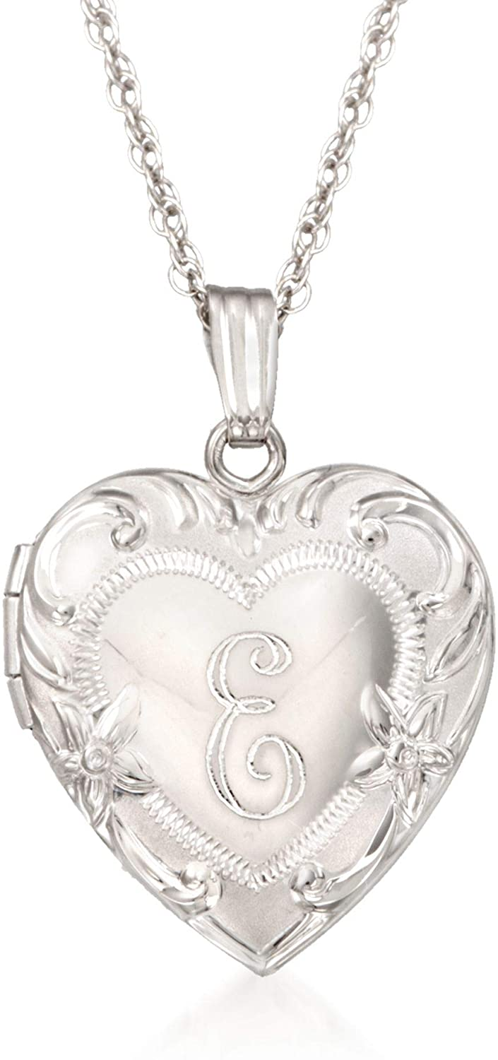 Ross-Simons Sterling Silver Engraved Heart Locket Necklace For Women 18 Inch 925