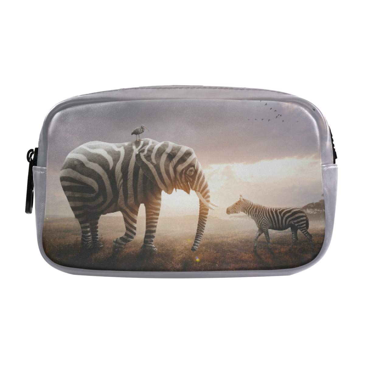 ALAZA African Elephant Wearing Black and White Zebra Stripes Cosmetic Bag Leather Pencil Case Waterproof Portable Travel Makeup Pouch with Zipper for Women Girls Teens
