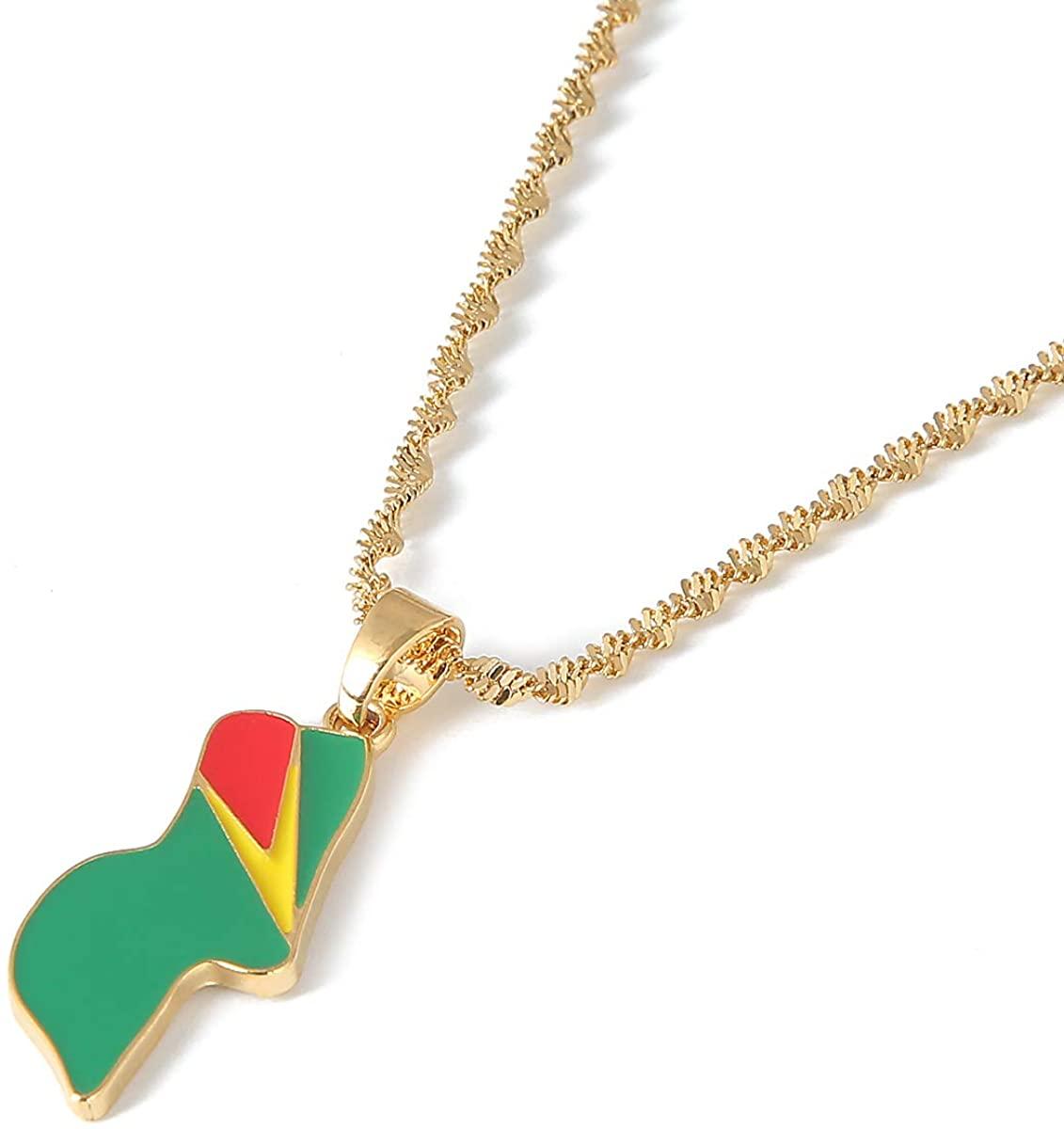Enamel Guyana Pendant Necklaces Jewellery Gold Color Jewelry Guyana Flag Jewelry