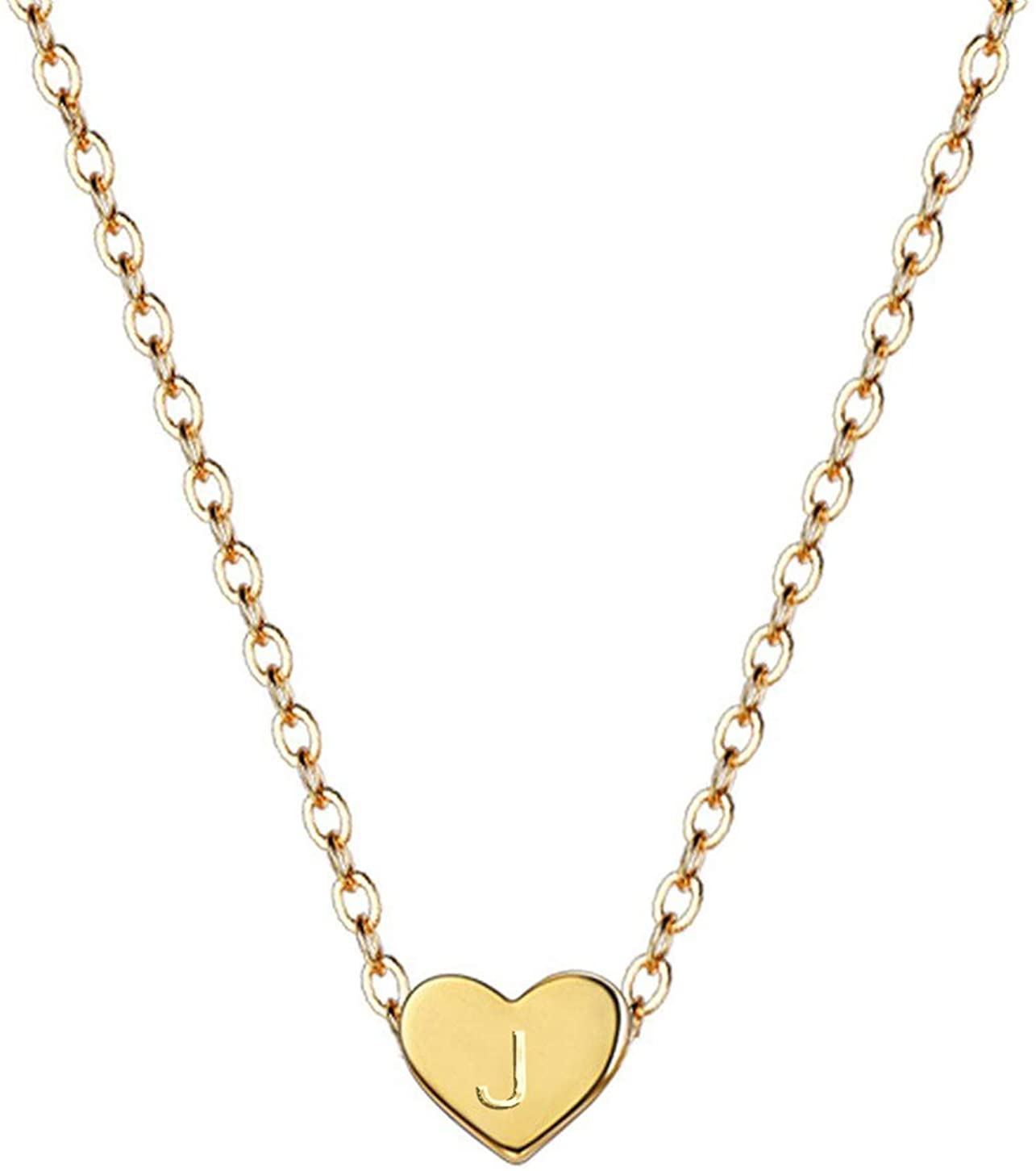 18K Gold Plated Initial Heart Necklace Stainless Steel Name Necklace Personalized Tiny Heart Pendant Letters Necklace for Women