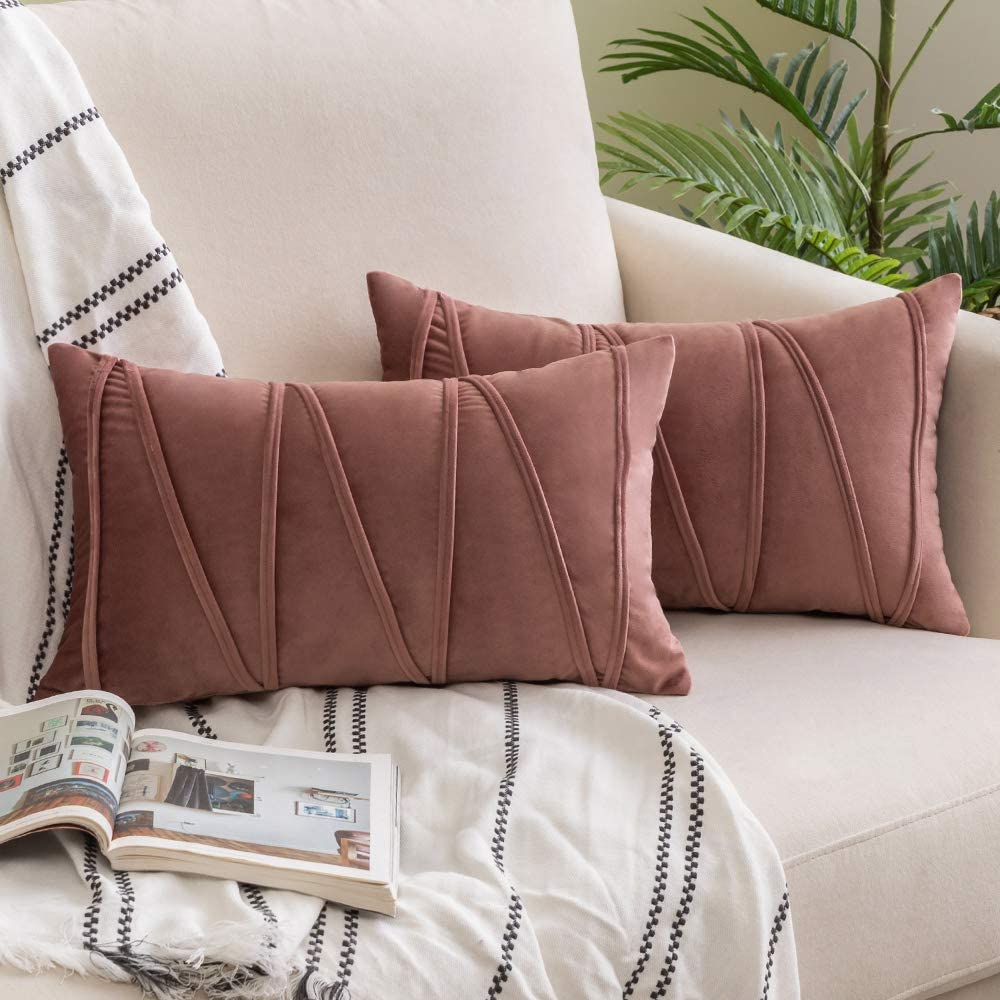 Woaboy Pack of 2 Striped Velvet Throw Pillow Covers Modern Decorative Solid Cushion Covers Rectangle Soft Cozy for Bed Sofa Couch Car Living Room 12x20inch 30x50cm Rose Gray