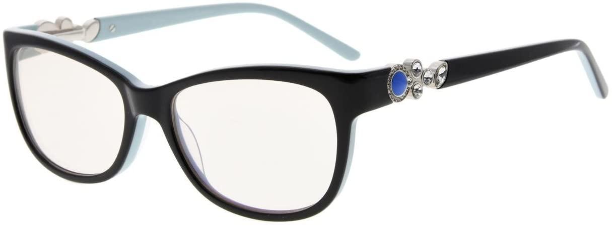 Eyekepper Womens Cat-Eye Computer Reading Glasses-Acetate Frame Blue Light Blocking Readers, Amber Tinted Lenses (Black Blue,+1.00)