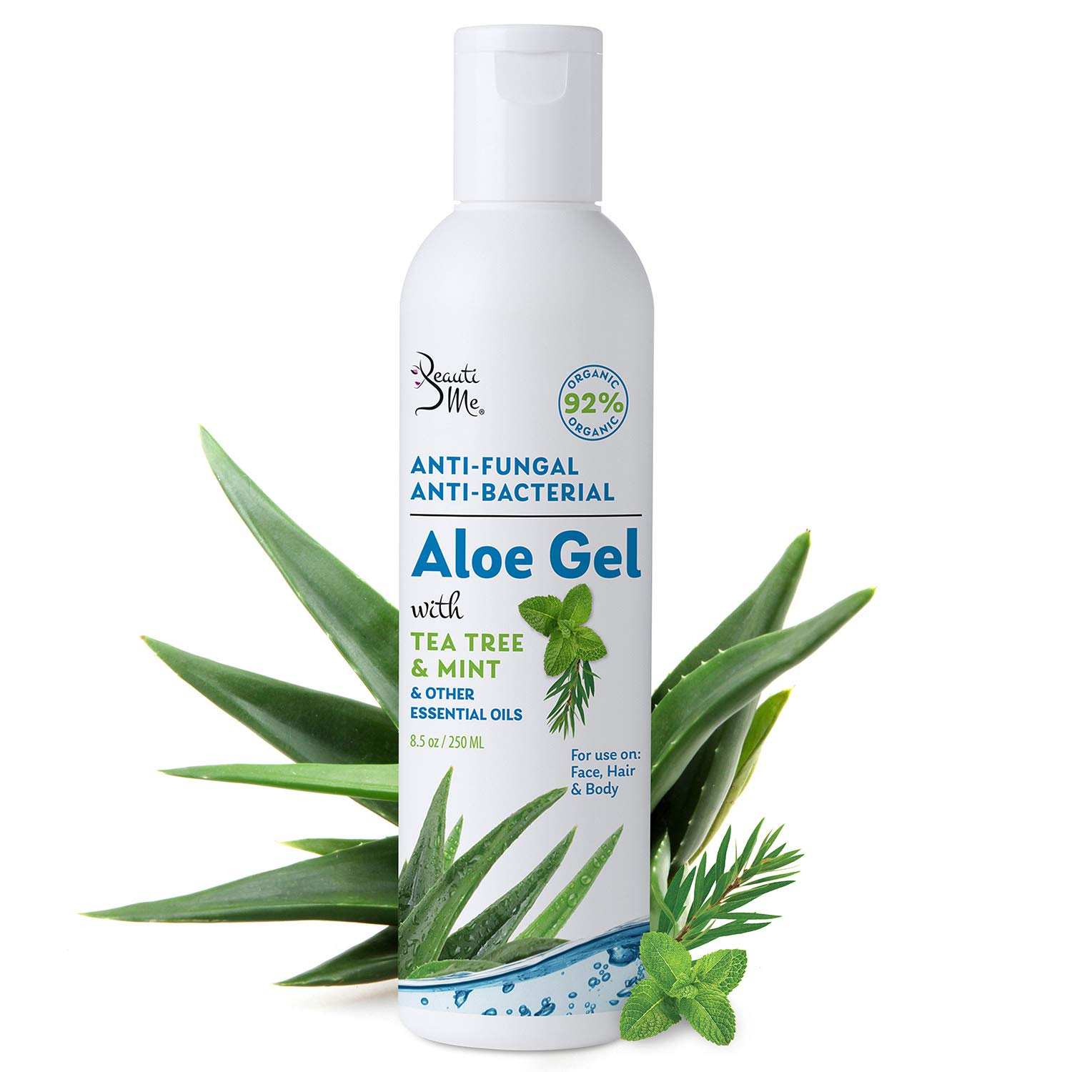 Beauti Me Therapeutic Aloe Vera Gel with Tea Tree and Mint - Anti-Fungal and Anti-Bacterial - Natural and Organic