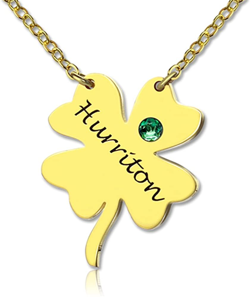 XXI0c2sd2s Four Leaf Clover Birthstone Necklace Simple Long Necklaces Jewelry Custom Made Any Name