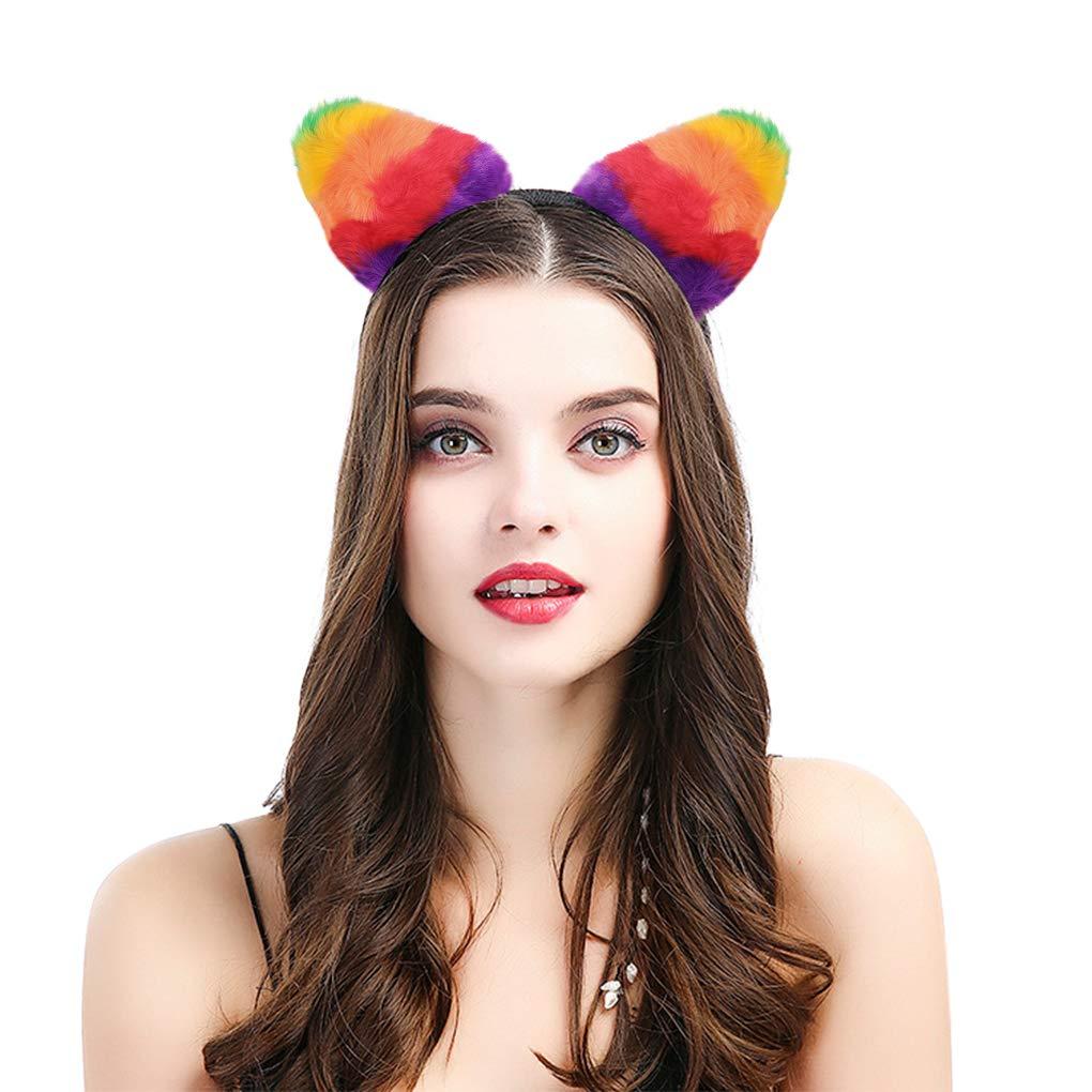 Cat Ears Furry Headband Rainbow Hair Clip Headwear Headband Cosplay Halloween Costume Cat Theme Brithday Party for Christmas Decorations, One Size, Pack of 1