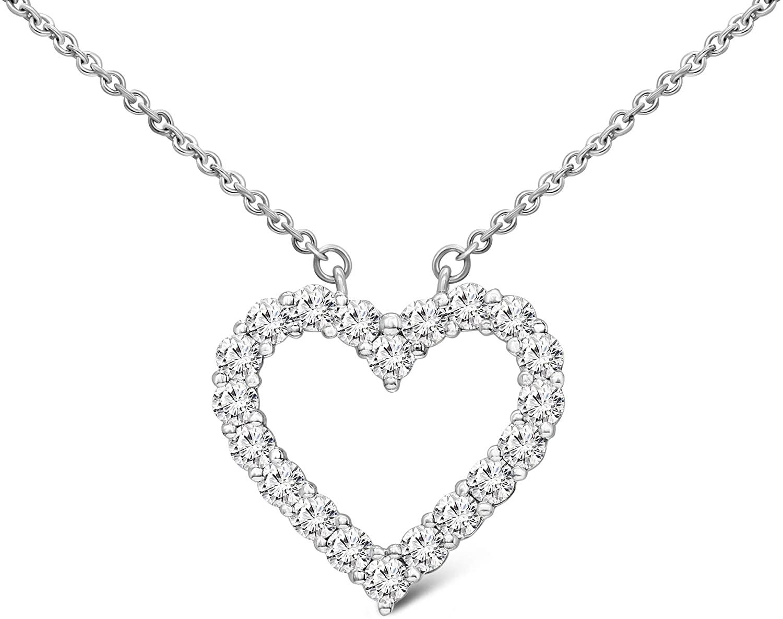 Friendly Diamonds 1/2 Carat - 1 Ct Diamond Pendant 10K & 14K Gold, Silver Heart Diamond Pendant Necklace For Women