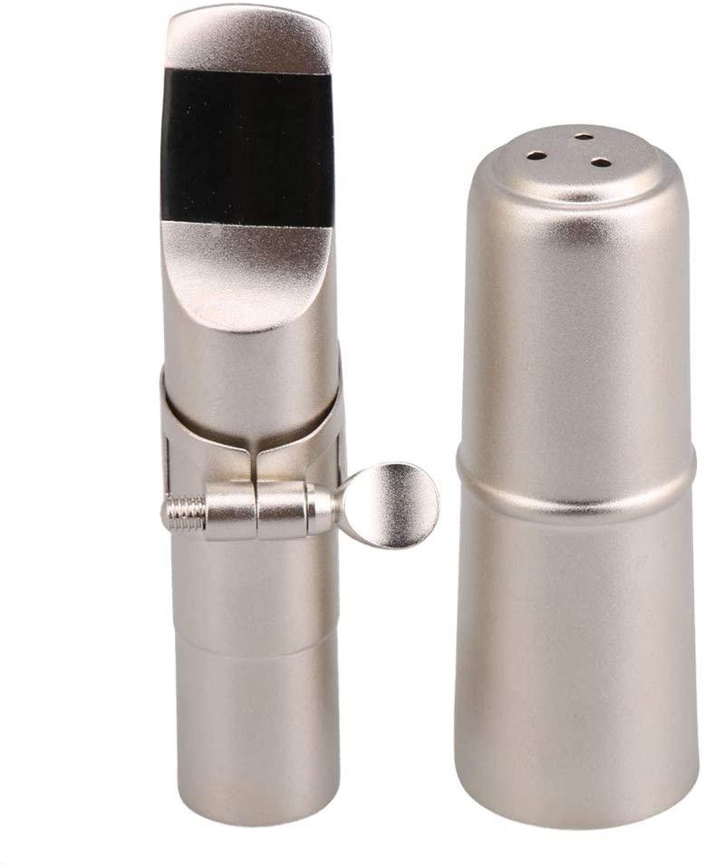 lovermusic Alto E Saxophone Mouthpiece Single Screw Clip Set with Ligature 7# Silver Matte