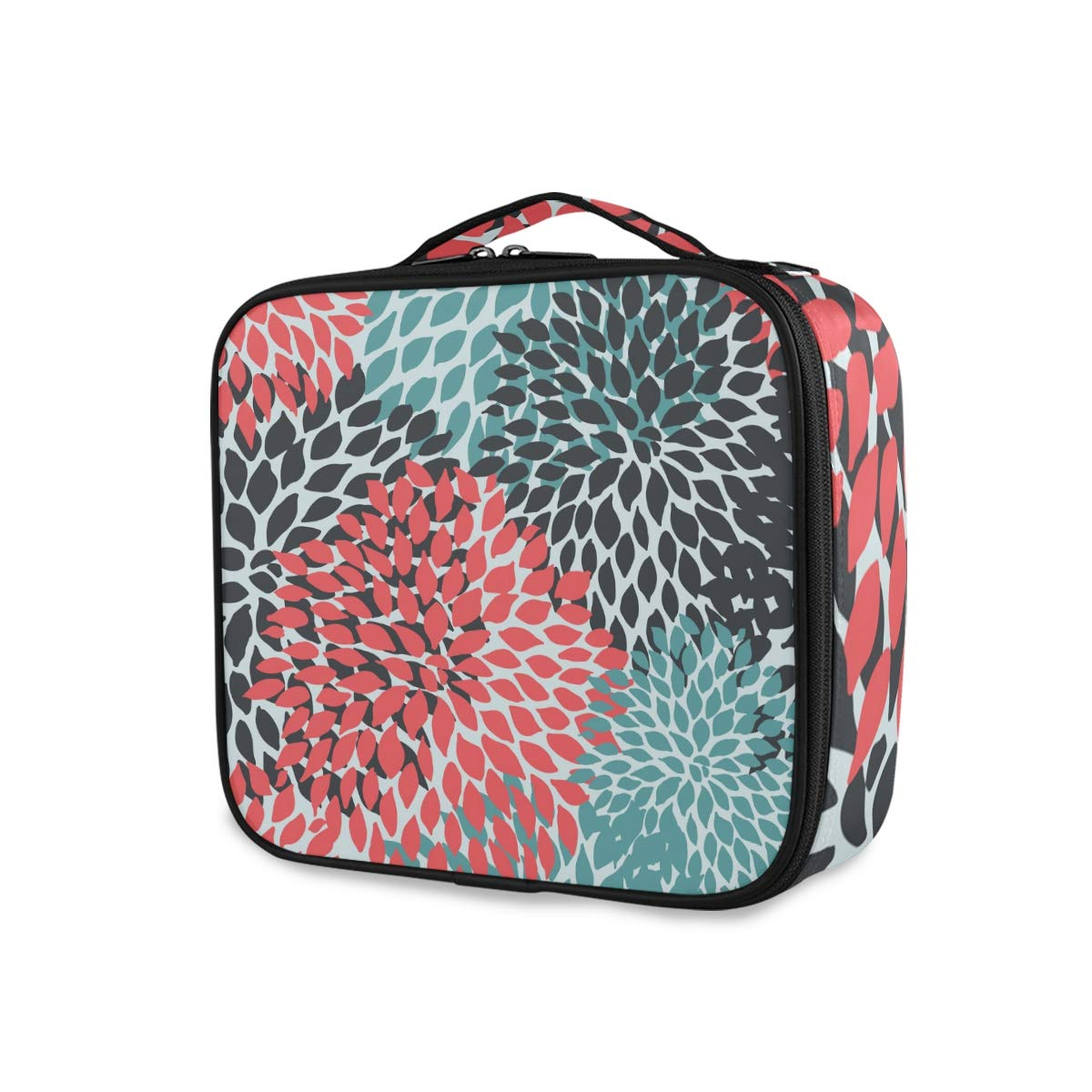 ALAZA Colorful Floral Red Blue Flower Dahlia Makeup Organizers Storage Travel Bag Toiletry Bags