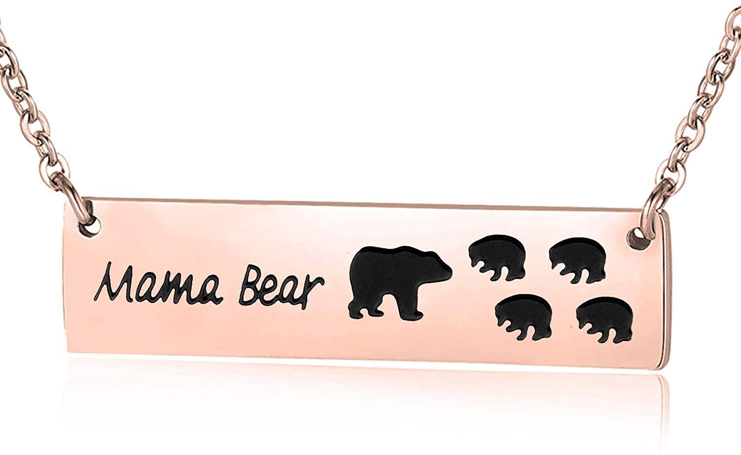 Getname Necklace Honey Family Mama Bear Bar Necklace Gifts for Family Stamped Mothers Jewelry