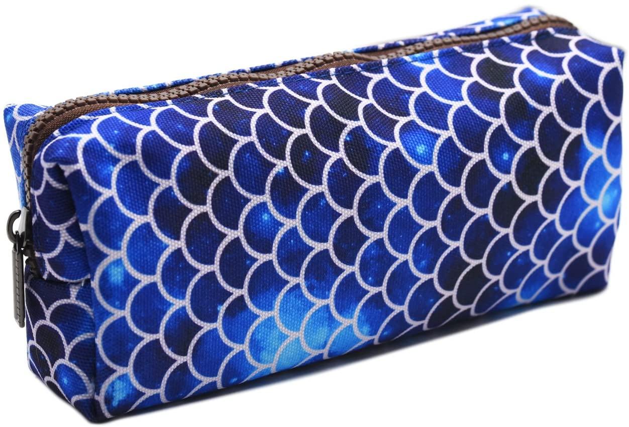 LParkin Mermaid Large Capacity Canvas Pencil Case Pen Bag Pouch Stationary Case Makeup Cosmetic Bag