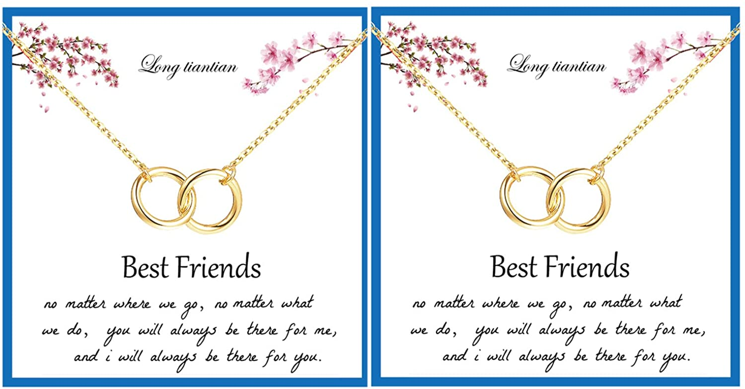 Long tiantian Two Interlocking Infinity Circles Necklace for Best Friend Friendship Jewelry