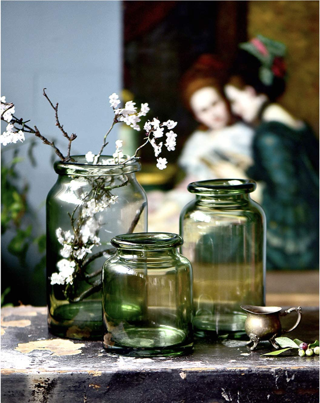 Noah Decoration European Hand-Blown and Handmade Light Green Glass Flower and Filler Vase and Containers for Home and Wedding Indoor and Outdoor Decoration Size Large