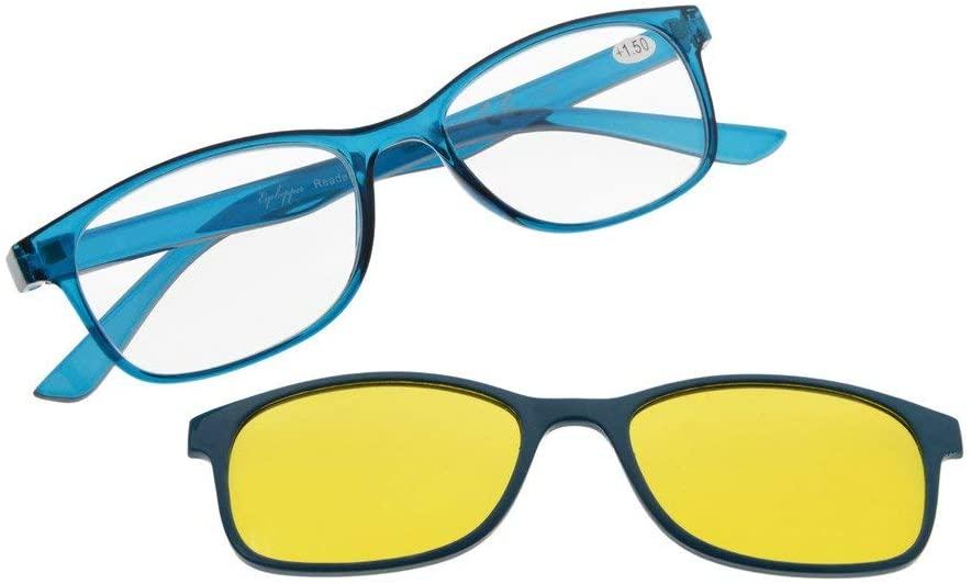 Eyekepper Reading Glasses Women with Polarized Anti Blue Glare Photochromic Lens Polarized Sun Clip A Little Heavy (Blue, 1.5)