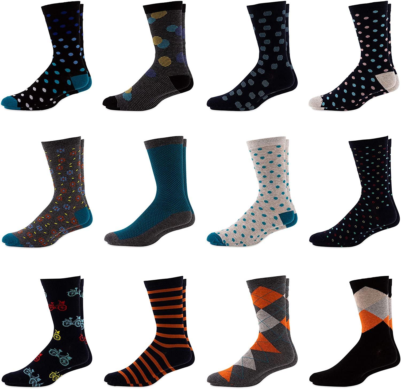 Men's Colorful Dress Socks - Conservative Patterned Striped Cotton Crew Socks For Men - 12 Pack