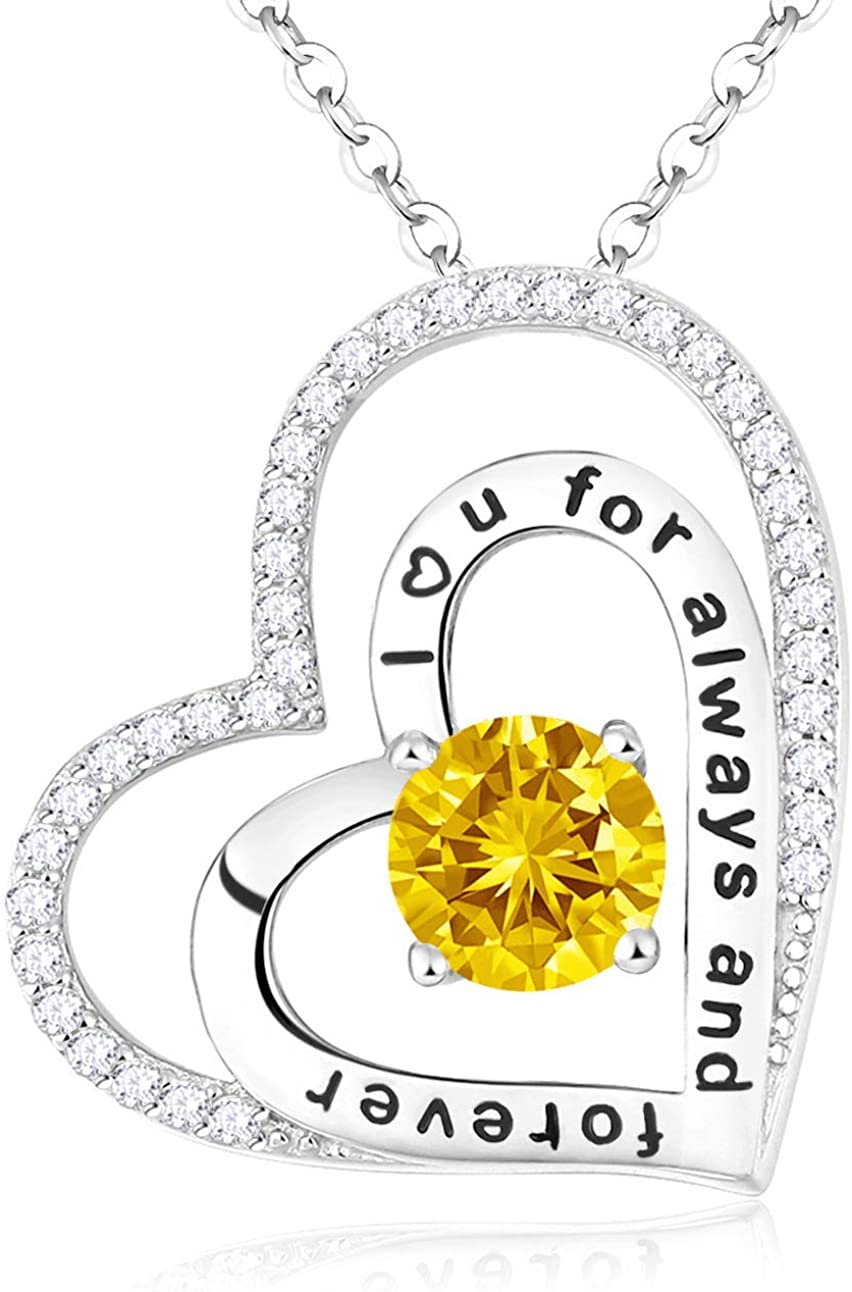 Yellow Citrine Necklace Double Hearts Necklace for Mom Wife Birthday Gifts I Love You for Always and Forever Necklace Sterling Silver