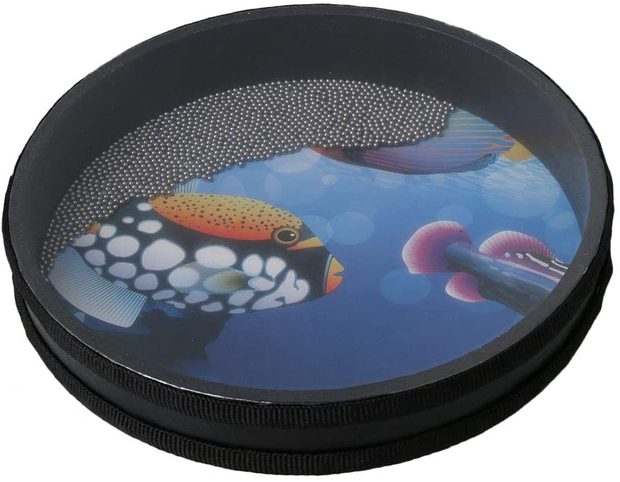 Yibuy Wave Bead Ocean Drum Percussion Toy with Fish Patton 10 inch