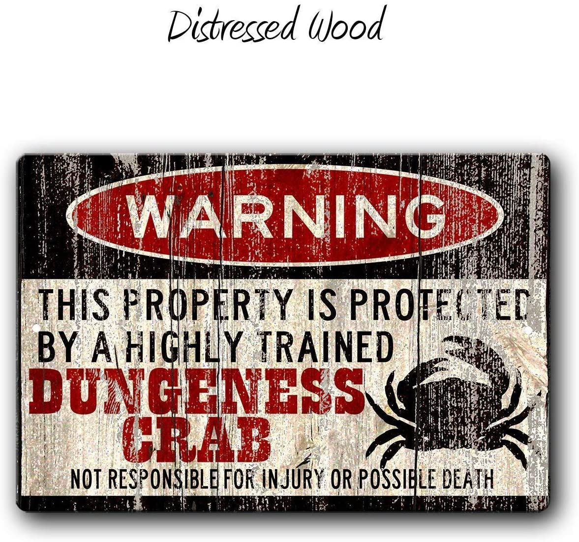 FemiaD Funny Crab Sign,Funny Metal Signs,Dungeness Crab Warning Sign,Funny Metal Yard Sign,no trespassing,Yard Sign for Crabs, Dungeness Crab Sign Aluminum Metal Sign 8 X 12 Inches