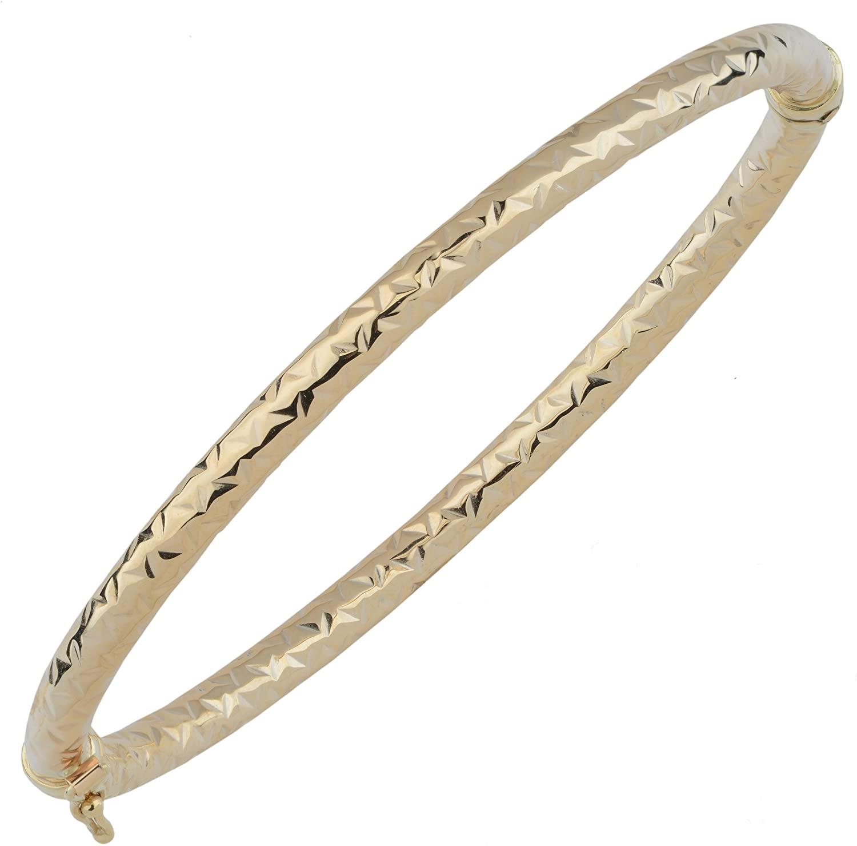 Kooljewelry 10k Yellow Gold Diamond-Cut Bangle Bracelet (4 mm)