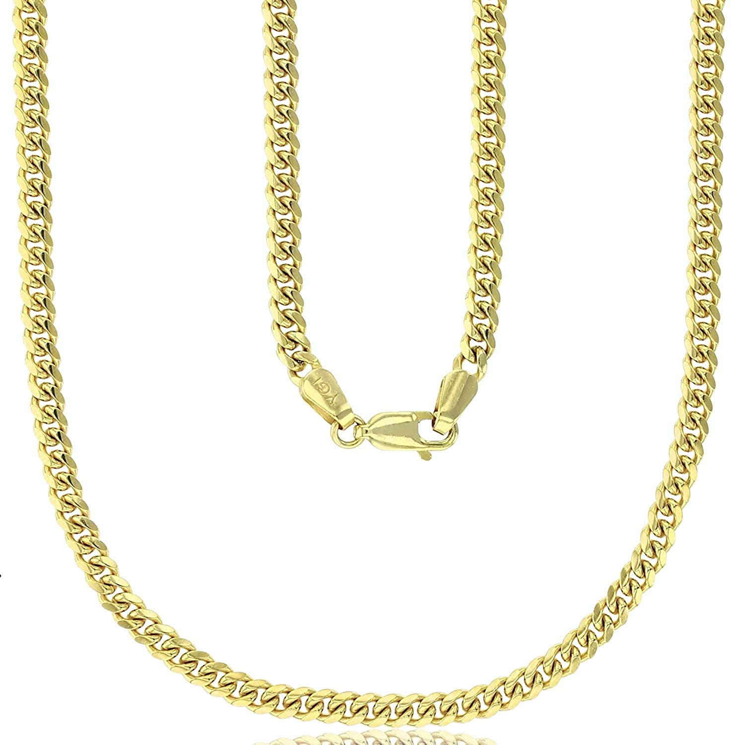 14K Yellow Gold 2mm Solid Maimi Cuban Chain For Men and Women with Lobster lock   14K Italian Gold Chain   Gold Curb Chain For Men and Women