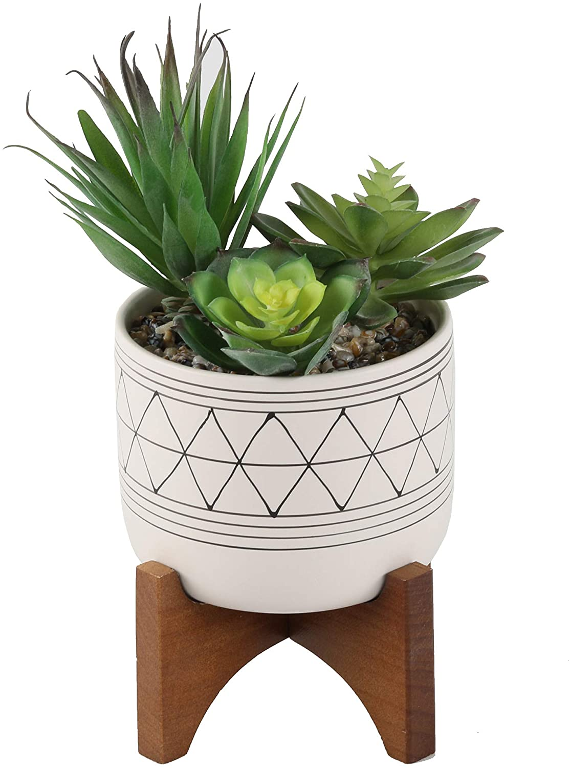 Flora Bunda Artificial Succulents in 5 Inch White Black Line Geometric Ceramic Planter with Wood Stand Mid Century for Home Office Decor